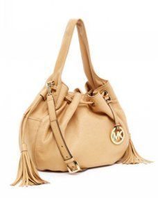 Michael Kors bags and Michael Kors handbags Michael Kors Marina Leather  Large Drawstring Shoulder Tote Tan A 2371832da234e