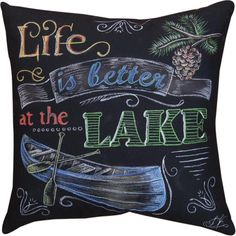 Life is Better at the Lake, Colored Chalk Indoor Throw Pillows (Set of 2)