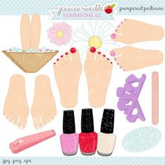Pampered Pedicure Clipart - JW Illustrations - cute nail polish and pedicure graphics Cute Nail Polish, Cute Nails, Scrapbook Page Layouts, Scrapbook Paper, Scrapbooking, Spa Cookies, Spa Birthday Parties, Spa Party, Black Pedicure