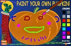 """Un sencillo juego para Educación Infantil, en la celebración de Halloween: """"Paint your own pumpkin!"""" (Pinta tu propia calabaza). Refuerza, a la vez, el conocimiento de los colores y del cuerpo humano."""