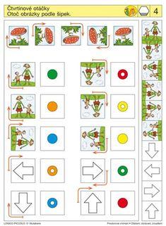 Soubor Logico Piccolo - Prostorové vnímání Pravolevá orientace Vhodné pro děti od 5 - 8 let Soubor obsahuje 16 různých karet Otáčení čtverců a trojúhelníků kolem stěžejního bodu Kolo štěstí – Brain Activities, Classroom Activities, File Folder Activities, Arabic Calligraphy Art, Kindergarten Worksheets, Speech Therapy, Diy And Crafts, Preschool, Coding