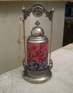 Antique Pickle Castor Cranberry Glass Enamel Daisy's Silver Plated   eBay