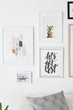 7 commandments for creating the perfect gallery wall: Photography : Agata Dimmich / Passion shake Read More on SMP: www. Inspiration Wand, Living Room Decor, Bedroom Decor, 1920s Bedroom, Canvas Art For Sale, Decor Scandinavian, Contemporary Abstract Art, Home And Deco, Printable Wall Art