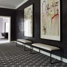 """Greg Natale on Instagram: """"These powerful black stucco walls contribute plenty of drama and character to The Melbourne House. My TOM carpet from @designerrugs is a great graphic complement. Incredible art by @jodavenport1."""""""