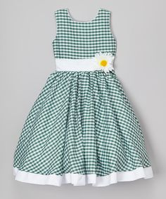 Kid Fashion Green & White Gingham Daisy Dress - Infant, Toddler & Girls | zulily