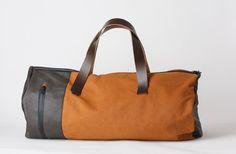 Travelbag sabbia/pelle testa di moro/interno bomber nero