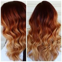 Trendy Hair Color - Highlights : Red copper blonde ombre, Love it. Looks gorgeous with curls., copper hair color for auburn ombre brown amber balayage and Hair Color Auburn, Red Hair Color, Color Red, Blonde Color, Auburn Red, Auburn Hair With Blonde, Red Ombre Hair Color, Red Blonde Ombre Hair, Auburn Hair Copper