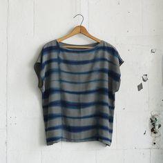 LINES. indigo dyed silk tee