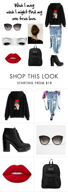 """""""Serial Killer"""" by nevertoodedicated ❤ liked on Polyvore featuring H&M, River Island, Lime Crime and JanSport"""