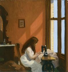 Girl at Sewing Machine is a 1921 painting by Edward Hopper, currently housed in the Museo Thyssen-Bornemisza in Madrid, Spain. American Realism, American Artists, American Life, Manet, Edouard Hopper, Edward Hopper Paintings, Ashcan School, David Hockney, Art History