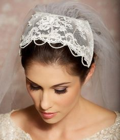 Lace Bridal Juliet Cap Veil from Gilded Shadows