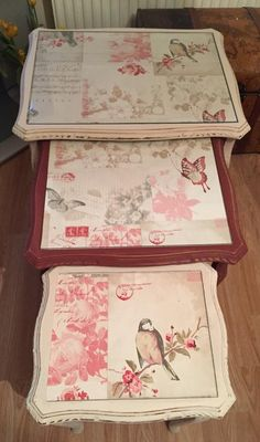 diy chalk paint , decoupage french look nest of tables x Decoupage Furniture, Hand Painted Furniture, Recycled Furniture, Paint Furniture, Handmade Furniture, Shabby Chic Furniture, Furniture Makeover, Vintage Furniture, Decoupage Ideas