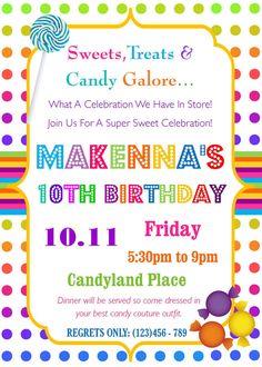Candyland Birthday Party Invitation - Sweets, Treats & Candy Galore Birthday Invitation
