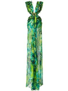 Versace Printed V-neck Backless Maxi Dress - Farfetch Backless Maxi Dresses, Jungle Print, Concrete Jungle, Green Silk, Nice Dresses, Amazing Dresses, Beautiful Dresses, Versace, Designers