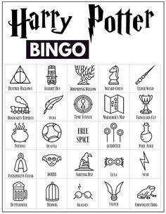 30 Harry Potter themed bingo cards for a Harry Potter themed party or classroom activity. Harry Potter Banner, Harry Potter Party Games, Harry Potter Activities, Cumpleaños Harry Potter, Harry Potter Classroom, Harry Potter Printables, Harry Potter Halloween, Harry Potter Drawings, Harry Potter Outfits