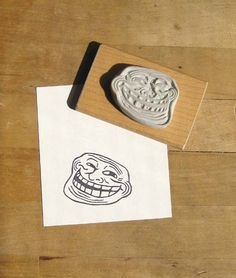 Rage Face Collection - Classic Rage, Troll Face and Me Gusta Hand Carved Stamps. $30,00, via Etsy.