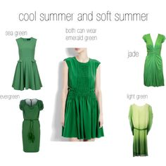 cool and soft summer greens, created by expressingyourtruth on Polyvore
