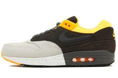 Nike Air Max 1 Prm PL GREY/DRK CHRCL-BLK-LSR ORNG