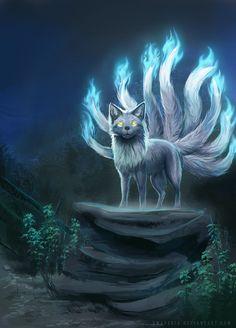 Kitsune by XMaveria Cute Fantasy Creatures, Mythical Creatures Art, Mythological Creatures, Magical Creatures, Fox Fantasy, Fantasy Monster, Fantasy Art, Mystical Animals, Wolf Spirit Animal