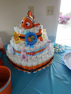 New baby boy room fishing finding nemo ideas Boy Baby Shower Themes, Baby Boy Shower, Baby Shower Decorations, Baby Shower Gifts, Shower Centerpieces, Baby Shower Diapers, Baby Shower Cakes, Nemo Cake, Babyshower