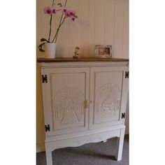 VINTAGE cocktail cabinet-Shabby-Chic-antique-cream-SOLID-  OAK-DRESS