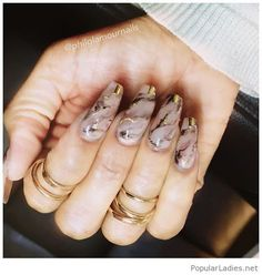 awesome long nails with gold gray marble