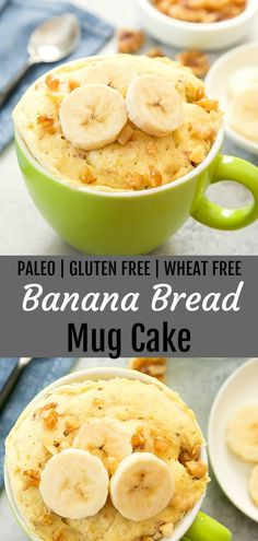 Paleo Banana Bread Mug Cake. This single serving fluffy cake is paleo, gluten free and cooks in 2 minutes. Paleo Banana Bread Mug Cake. This single serving fluffy cake is paleo, gluten free and cooks in 2 minutes. Gluten Free Mug Cake, Paleo Mug Cake, Mug Cake Healthy, Gluten Free Banana, Banana Bread Mug, Banana Pudding, Pain Keto, Muffin In A Mug, Mug Cake Microwave