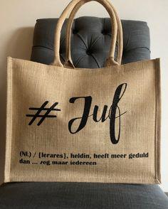 Gepersonaliseerde jutte tas: #juf - Poppie Loppie