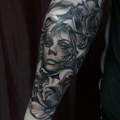 Flowers women portrait Tattoo 3D   #Tattoo, #Tattooed, #Tattoos