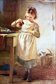 Kitty's Breakfast, by Emily Farmer (1826-1905, English)