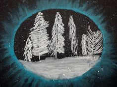 4th grade winter chalk landscapes