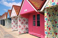 Cath Kidston beach huts at Bournemouth beach - if I'm ever fortunate enough to own my own beach hut, I'd like it decorated like the one on the right of this photo! Shabby Vintage, Vintage Soul, Beach Hut Decor, Beach Hut Shed, Beach Huts Art, Beach Hut Interior, Bournemouth Beach, Shepherds Hut, Play Houses