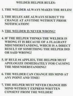 Welders rules lol