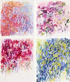 I want to find throw pillows, or better yet, make some, with these sorts of colors/paintings.
