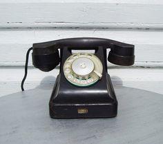Vintage Rotary Telephone Black Bakelite phone by MerilinsRetro, $79.00