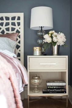Bedroom Nightstand Decor Ideas - All For Decoration Bedroom Table, Home Bedroom, Bedroom Furniture, Bedroom Decor, Bedroom Lighting, Design Bedroom, Bedroom Themes, Bedroom Ideas, Master Bedroom