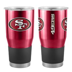 Ultra Tumbler with stainless steel body with double-wall vacuum insulated construction and slider top lid for San Francisco fans. Nfl Cleveland Browns, 49ers Fans, Nfl San Francisco, Louisville Cardinals, Sports Fan Shop, Nfl Sports, Sports Teams, Green Bay, Stainless Steel