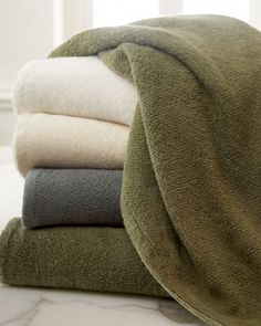 Best towels EVER. They get softer every time you wash them!!     Cotton/Bamboo Towels at Neiman Marcus.