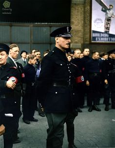 Oswald Mosley leading his British Union of Fascist blackshirts to the East End of London, 4 October 1936. The Metropolitan Police, overseeing the march, tried to force the blackshirts though roadblocks set up by anti-fascist groups and local residents, who fought back. From and colour by neitshade5.