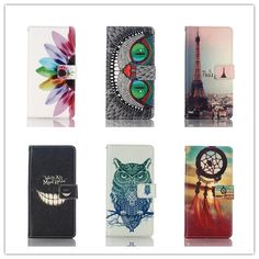 Fashion Painted Leather Protective Flip Case For Sony Xperia M5 Aqua E5603 E5606 Card Slots Wallet Stand Cover with Phone Cases #Affiliate