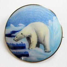 Stunning Aksel Holmsen Sterling Enamel Guilloche Polar Bear Scenic Brooch Pin