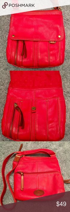 """Fossil Hot Red Leather Multi Pocket Crossbody In good used condition! L-11"""", H-12"""", W-2"""", strap drop max -24"""" Fossil Bags Crossbody Bags"""