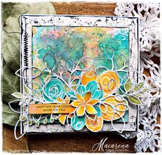 This is a special post. This week Simon Says Stamp Monday Challenge celebrates Birthday ! Singing Happy Birthday, 9th Birthday, Birthday Cards, Lace Stencil, Simon Says Stamp Blog, Mixed Media Cards, Flower Stamp, Card Envelopes, Card Kit