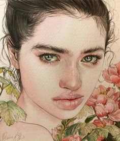🌺🌺🌺 ・ ・【 SOLD OUT 】 ・my original painting / no specific model × ・ ・ Watercolor Portrait Painting, Watercolor Art Face, Watercolor Trees, Watercolor Landscape, Portrait Draw, Drawing Portraits, Art Sketches, Art Drawings, Drawing Art