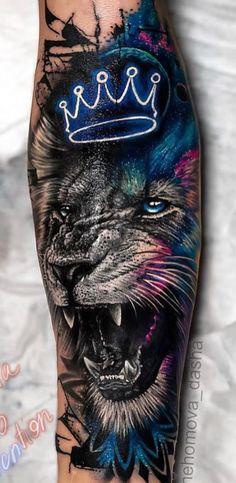 Beautiful Lion Tattoo Design - This is an incredible tattoo . - Beautiful Lion Tattoo Design – This is an incredible tattoo on the arm. Tattoos Bein, Paar Tattoos, Badass Tattoos, Wolf Tattoos, Forearm Tattoos, Body Art Tattoos, Lion Tattoos On Arm, Mens Lion Tattoo, Bird Tattoos
