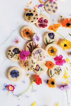 Bring Spring Inside With This Flower-Pressed Cookie Recipe Eatable Flowers, Vegan Popcorn, Flower Food, Flower Cookies, Shortbread Cookies, How To Make Cookies, Pansies, Food Art, Cookie Recipes