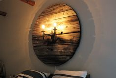 Walldecor, reclamed wood, cable drum, light