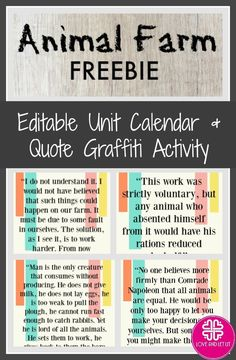 Looking for Animal Farm ideas? Use this FREE editable Animal Farm Unit Calendar to plan your unit and help students stay organized! The FREE Quote Graffiti Activity includes four thought-provoking quotes from Animal Farm, by George Orwell, and a lesson plan for an engaging and interactive activity!