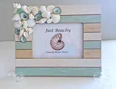 BEACH DECOR PHOTO frame, seashells, seaglass, vintage coral, wood frame, seafoam green, stripes, wedding, vacation, nautical, coastal by justbeachynow on Etsy