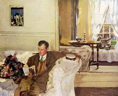 Neutral walls, pale slipcovers & thin curtains weren't invented by Pottery Barn. Hilda Fearon's portrait of the artist Algernon Talmage was published in The International Studio in 1912.